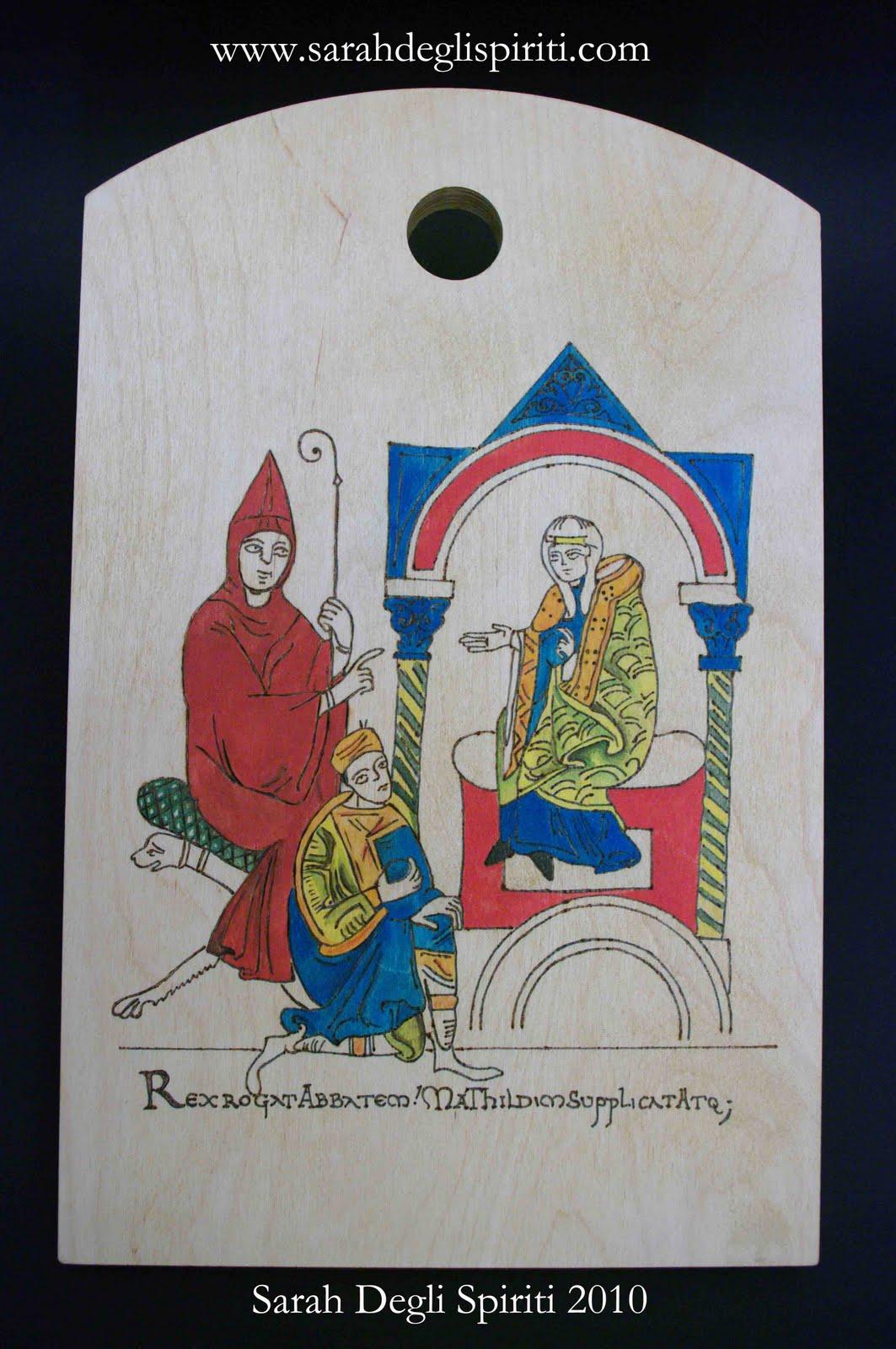 Tagliere con miniatura medievale