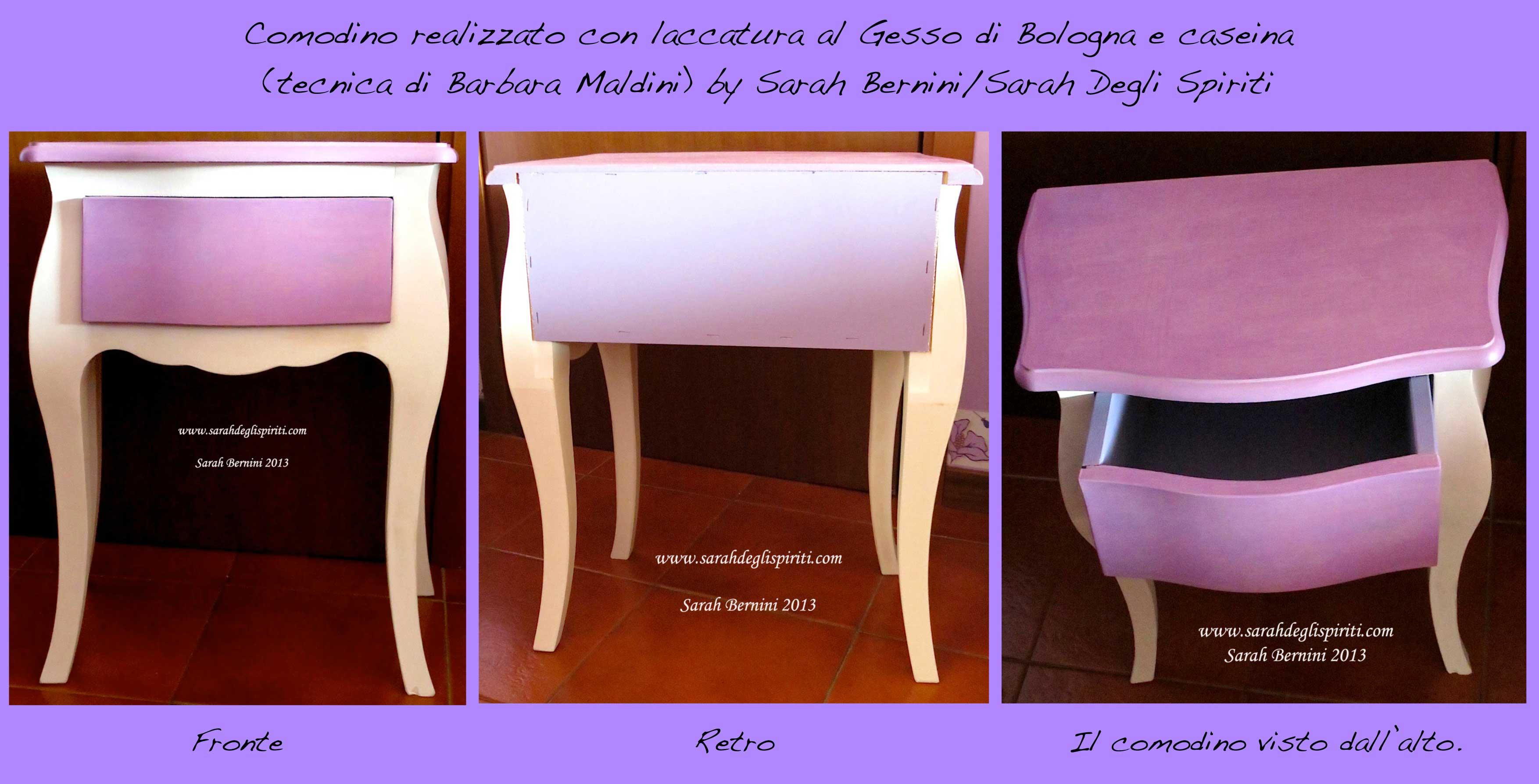 Comodino al gesso di Bologna e caseina by Sarah Bernini/Sarah Degli Spiriti