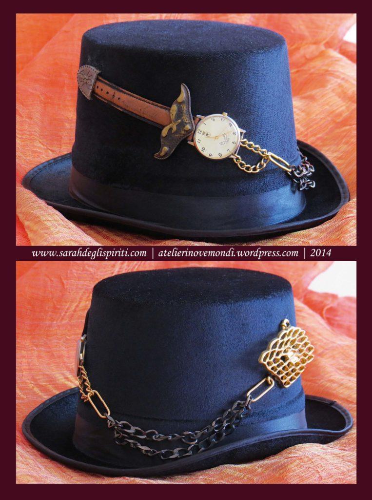 Cappello n. 3 in decorato in stile Steampunk da Sarah Bernini/Sarah Degli Spiriti.
