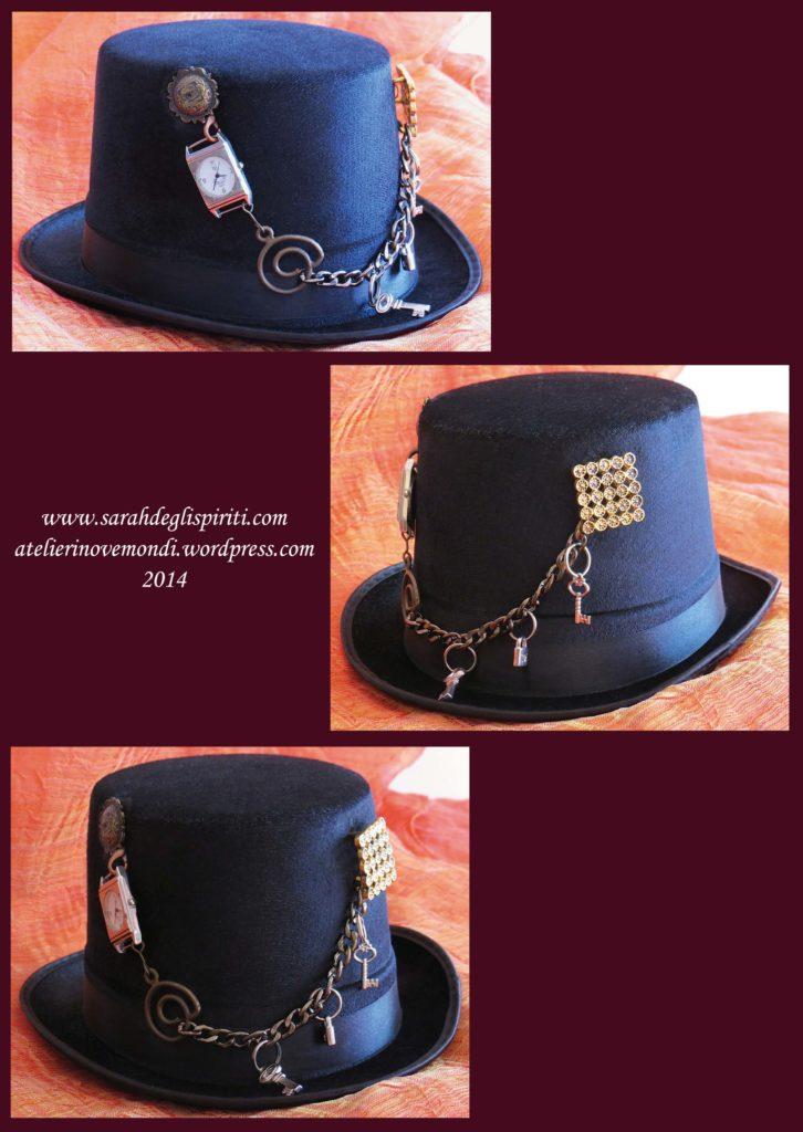 Cappello n. 4 decorato in stile Steampunk da Sarah Bernini/Sarah Degli Spiriti.