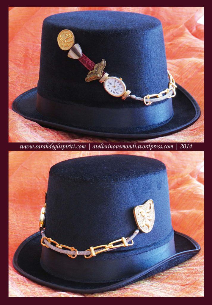Cappello n. 5 decorato in stile Steampunk da Sarah Bernini/Sarah Degli Spiriti.