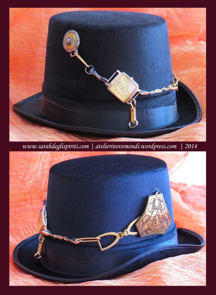 Cappello decorato in stile steampunk by Sarah Bernini/Sarah Degli Spiriti.